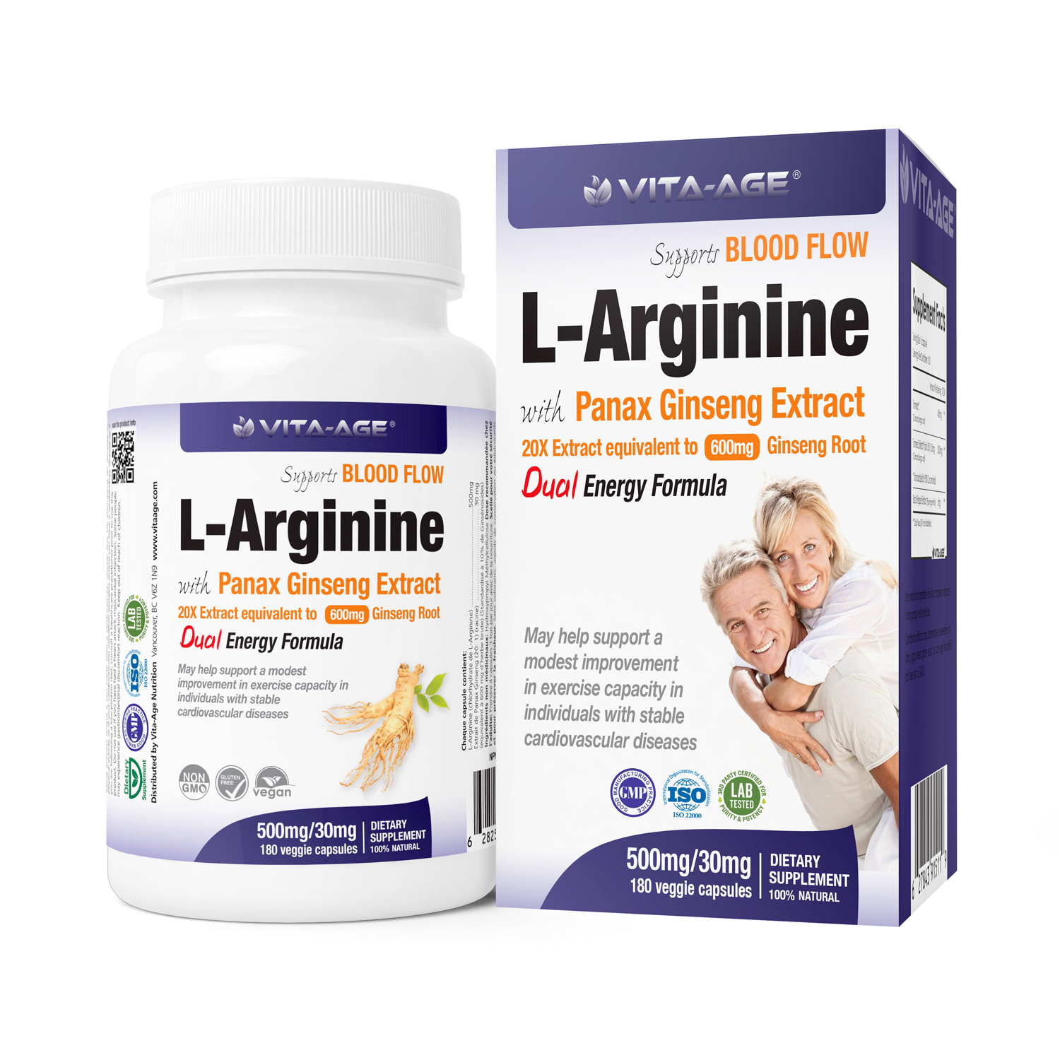 L-Arginine with Panax Ginseng Extract - Vita-Age Nutrition